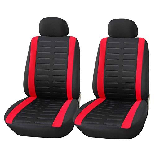 Upgrade4cars Coprisedili Auto Anteriore Universali Nero Rosso Set Copri-Sedile Universale per Guidatore e Passeggero con Airbag Laterali Accessori Auto Interno