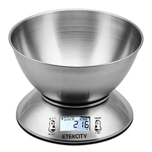 Etekcity Balance de Cuisine Electronique 5 kg/1g en Acier Inox avec Grand Ecran Rétroéclairé, Bol Amovible, Minuterie avec une Alarme, Fonction Tare, Piles Fournies, Argent