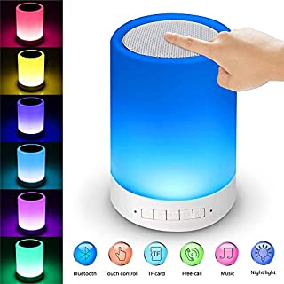 NOBLJX Drahtlose Bluetooth-Speaker mit LED Night Light Touch Control RGB Dimming Colorful Night Light Portable Music Player Hands-Free Call Bedside Light Support TF Card