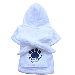 DoggyDolly DRF001 Robe for Dogs, white
