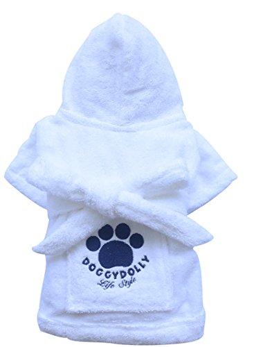 Doggy Dolly DRF001 Bademantel für Hunde, weiß, Größe : S