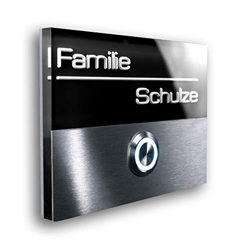 Türklingel aus Edelstahl - inklusive 3D-Gravur und LED beleuchtetem Namensschild - Unterputz-Montage -