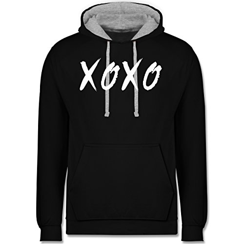 Statement Shirts - XOXO - Hugs and Kisses - Kontrast Hoodie Schwarz/Grau Meliert