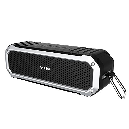 VTIN Altoparlante Speaker Cassa Acustica Diffusore Acustico Esterno Bluetooth CSR 4.0 Wireless Impermeabile IP64 Batteria Ricaricabile 8+ Ore Playtime con La Torcia LED per iPhone Galaxy Sony Xperia HTC One Nokia, Laptop, Tablet - Nero&Argento