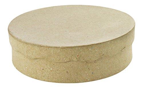 Décopatch BT008O Box rund flach aus Pappmaché, 11 x 11 x 3 cm, zum Verzieren, perfekt für Ihre Wohndeko, Kartonbraun