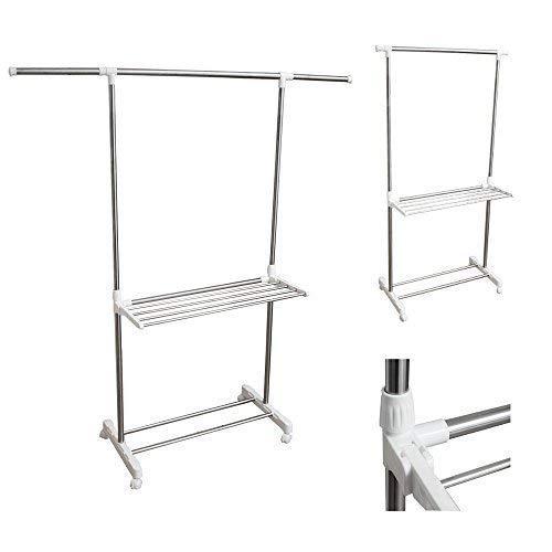teprovo Rollgarderobe Kleiderständer fahrbar in 3 Ausführungen, Farbe:weiß mit 5 Wäschestangen