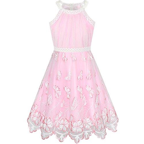Sunboree Mädchen Kleid Rosa Schmetterling Bestickte Halfter Kleiden Gr. 116