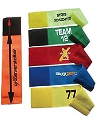 größenverstellbare Armbinde bedruckt mit IHREM INDIVIDUELLEM TEXT (XXXL 35-46 cm) (Farbe gelb)