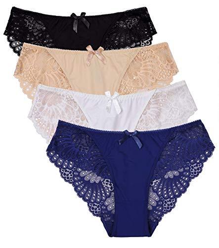ALove Damen Breathable bikinihöschen sexy unterwäsche weiche Spitze pantiespack mittel Bikini (Nylon) - Volle Deckung Bikini Nylon