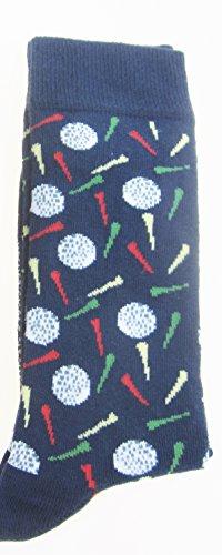 TIE Studio Krawatte Studio-Paar Geschenk Socken in navy blau mit A Golf Ball & Tee Motiv-Größe (6-11) -