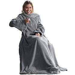 CelinaTex TV-Decke Kuscheldecke mit Ärmeln und Fußtasche XL 170 x 200 cm Silber grau Coral Fleece Tagesdecke Ärmeldecke