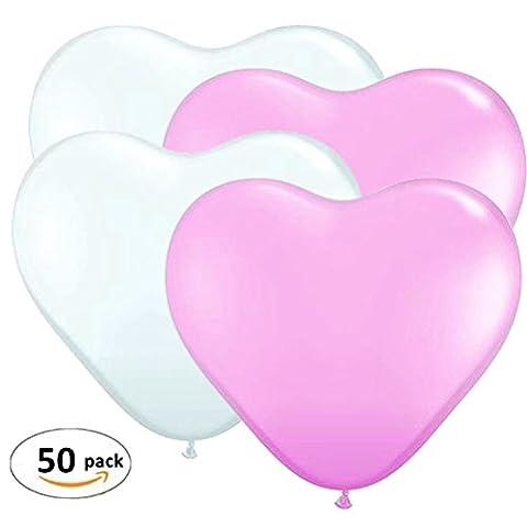 Anokay Set 50 pcs Ballon romantique élégant Rose & Blanc / Ballon Cœur pour Décoration de Mariage, Anniversaire, Soirée , Saint Valentin, Fête et Maison - 100% Latex