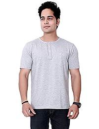 ed379150 Particle Melange Grey Tshirt Half Sleeve for Men Cotton - Regular Fit  Henley T Shirt with