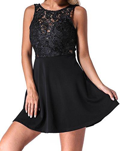 Auxo Damen Spitze Minikleid Ärmellos Rückenfrei Kurz Kleider Transparent Abend Brautkleid Cocktail Ballkleid Schwarz EU 42/Etikettgröße XL