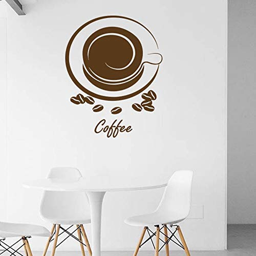 jiuyaomai Wunderland Wandaufkleber Kraft Kaffeetasse Kaffeebohnen Aroma Cafe Restaurant Kinderzimmer Wohnzimmer Schlafzimmer DIY Wandaufkleber Vinyl42X52Cm