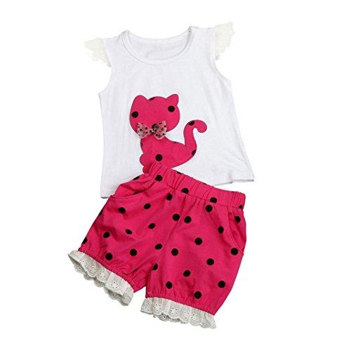 Amlaiworld mädchen frühling Katze t-Shirt Sommer Baby locker Punktdruck kurz Hosen niedlich Kleinkind Prinzessin Kleider süße Party Oberteile Bekleidungssets, 0-4 Jahren (3 Jahren, Rot)