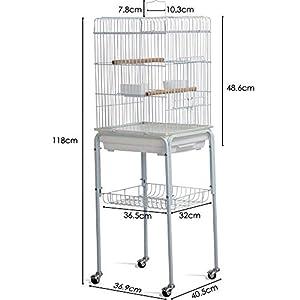 Yaheetech Metal Rolling Bird Cage Parakeet Finch Budgie Conure Lovebird House On Wheels w/3 Front Doors/Storage Shelf/Bottom Tray 40.5Lx36.9W x118H (cm) by Yaheetech