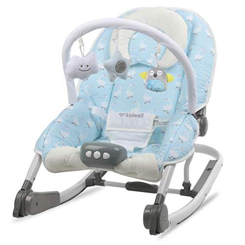 KIDWELL TUMI Multifunktional Babywippe 2in1 | Elektrische Babyschaukel mit Spielbogen & Vibration & Melodien & Licht | ab Geburt bis 18 kg verwendbar | Moskitonetz im Set | Gans-Muster