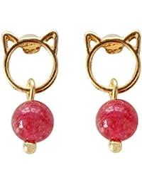 e57f32072048 GRRNUY Cordones de piedra roja original personalidad minimalista Colgante  Pendientes expuestas Cat Head Animal Pendientes Pendientes