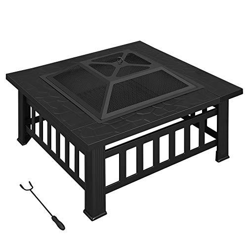 SONGMICS Feuerstelle, Feuerkorb, Feuerschale, Grill, mit Schürhaken, PE-Schutzhülle, quadratisch, 81 x 81 x 50 cm (L x B x H), für den Garten, zum Aufwärmen, aus Eisen, schwarz GFP81BK