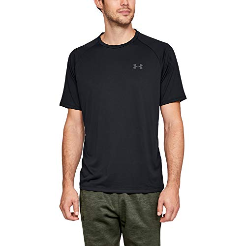 Under Armour Herren UA Tech 2.0 Short Sleeve Tee atmungsaktives Sportshirt, kurzärmliges und schnelltrocknendes Trainingsshirt mit loser Passform, Schwarz (Black/Graphite 001), X-Large