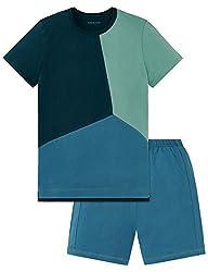 Schiesser Jungen Zweiteiliger Schlafanzug Anzug Kurz, Blau (Aqua 833), 140 (Herstellergröße XS)