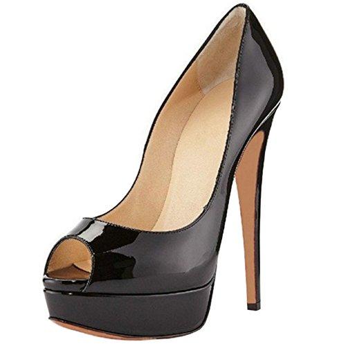 TAOFFEN Damen Klassischer Peep-Toe Stiletto Heel Patent Plateau Schlupfschuhe Party Sommer Sandalen (33 EU, Black) Black Patent Peep Toe Stiletto Pumps