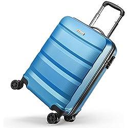 REYLEO Valise Trolley Cabine 55cm, Valise Rigide 8 Roues Pivotantes, Valise à Code, Rigide, Résistante, Bleue, 35L