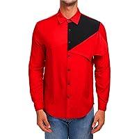 Yvelands Para Hombre Personalidad Camisas con Botones Casual Otoño Slim Fit Patchwork de Manga Larga Blusa Sólida Superior