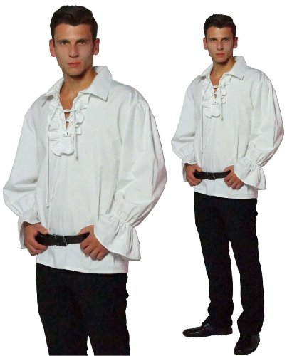 MAYLYNN 13711-M - Piratenhemd Rüschenhemd Mittelalter Hemd, Größe M, weiß