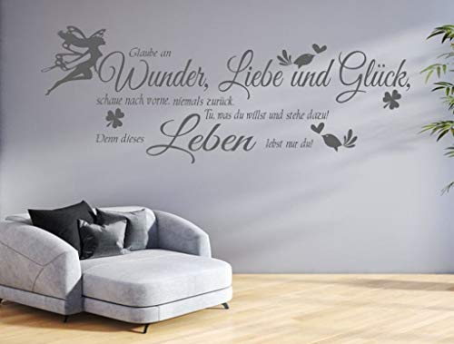 GR-pk132a Wandtattoo Wohnzimmer Wandtatoo Glaube an Wunder Liebe Glück Flur Wandspruch (B100 x H34 cm)