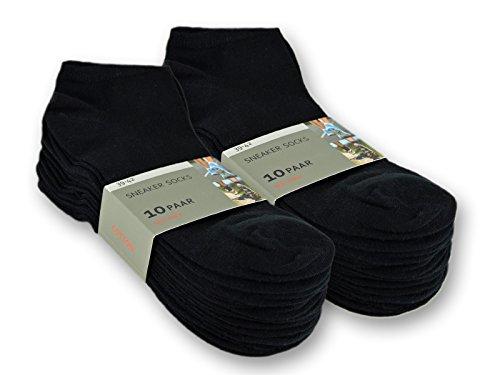 10 bis 100 Paar Sneaker Socken Baumwolle Damen & Herren Schwarz & Weiß - sockenkauf24 (35-38, 20 Paar | Schwarz) (Schwarze Socken Aus Baumwolle)