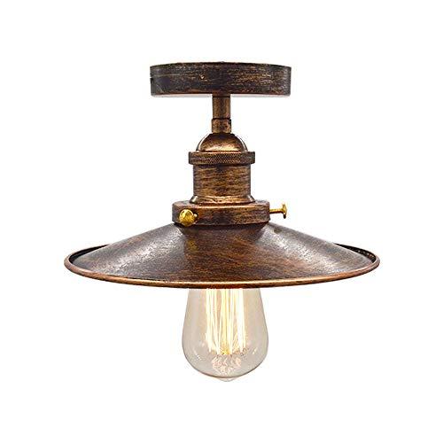 Huahan Haituo Decke Licht Modern Vintage Industrial Metal Schwarz Bronze Loft Bar Decke Licht Schatten Retro Anhänger Light(StyleA,Sweeping gold) -