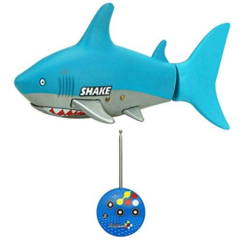Baoblaze Elektronische Ferngesteuerter Roboter Fisch Schwimmen Hai Fisch Roboter Spielzeug für Kinder Wasser Spaß - Blau