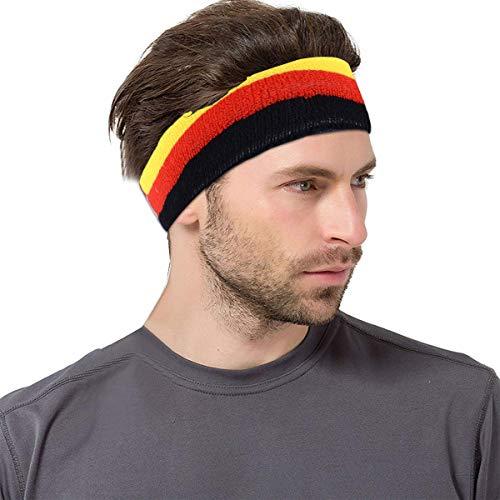 VerteLife Sport Stirnband Damen Herren Schweißbänder Kopf Stirn Baumwolle Frottee Elastische Kopfband Feuchtigkeit Wicking Headband Haarband für Laufen Fahrrad Joggen Tennis Fußball (Deutschland)