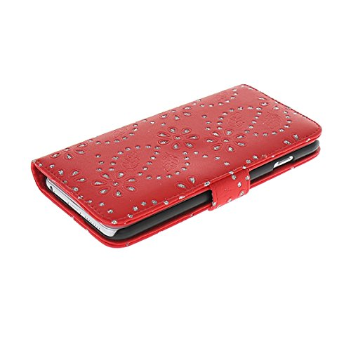 MOONCASE Coque en Cuir Portefeuille Housse de Protection Étui à rabat Case pour Apple iPhone 6 ( 4.7 inch ) Rouge Rouge