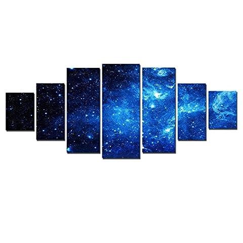 Startonight Leinwandbilder Großformatige Kunst Blauer Raum, Doppelansicht Modernes Dekor Gerahmte Kunstwerk 100% Ursprünglich Fertig zum Aufhängen XXL 7 teile 100 x 240
