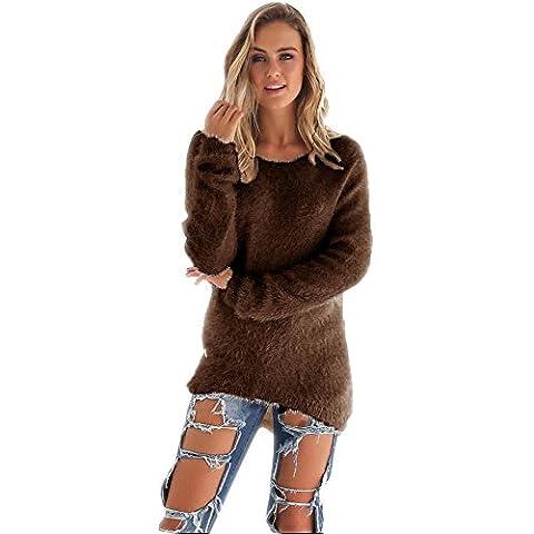 YunYoud Damen Große Größe O-Hals Pullover Frau Mode Beiläufig Einfarbig Sweater Plüsch Lange Ärmel Bluse Irregulär Warm Tops Herbst Winter Sweatshirt (XXL, Kaffee)