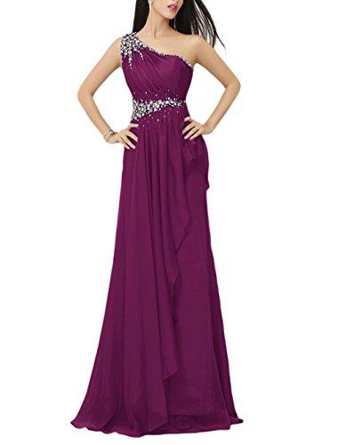 Find Dress Robe de Bal Longue Princesse Epaule Asymétrique Robe de Cérémonie Femme pour Mariage Style Elégant Anniversaire Gala Gown Taille Personnaliser en Mousseline avec Appliques Raisin