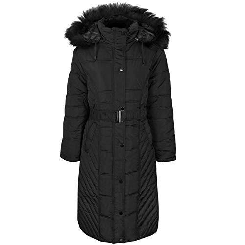 Fashion Thirsty Damen Stepp-Wintermantel mit Kapuze - lang - gefüttert - Übergrößen - Schwarz - EUR 58