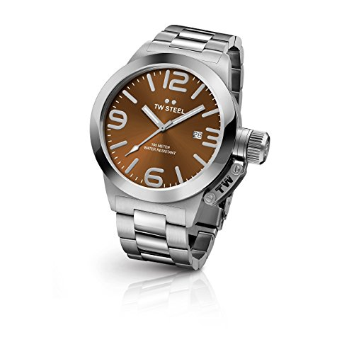 TW Steel Cb22pour homme Canteen Bracelet Argent Band Cadran Marron montre
