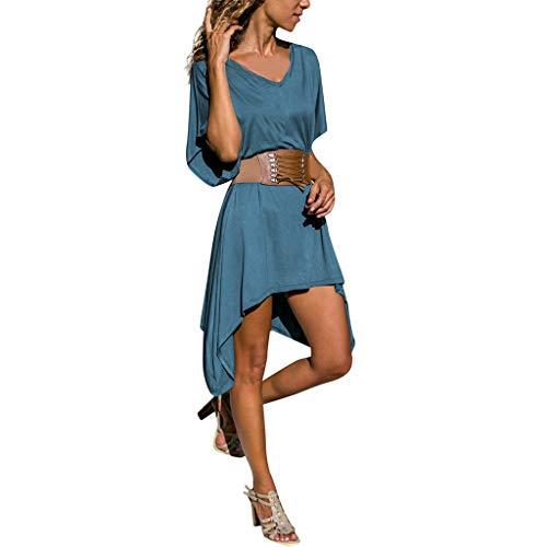 Unregelmäßiger Saum der Frauen Beiläufiger Einfarbiger Loser V-Ausschnitt Langer Rock mit Gürtel Kurzarm Kleid(Marine,M)