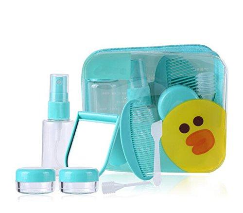 7 en 1 Ensemble de voyage portable Plastique Bouteille Ensemble de bouteilles de voyage Accessoires Petite bouteille conteneurs anti-fuites avec un sac de plastique étanche