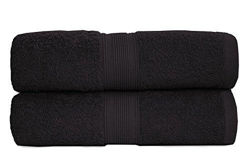 Set di teli da doccia in spugna, 70x 140cm, qualità 500g/m²,100% cotone, 2 pezzi, 100% cotone, nero, 70 x 140 cm