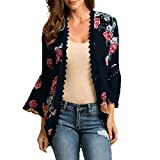 MRULIC Damen Florale Kimono Cardigan Boho Chiffon Sommerkleid Beach Cover up Leicht Tuch für die Sommermonate am Strand
