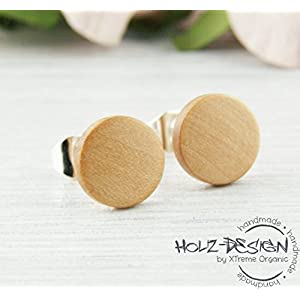 Helle Mini Holz Ohrstecker Ø8mm Holz Extra Klein Fake Plugs Ohrringe Heimische Birne hölzerne Mini Ohrring kleine runde Holzohrstecker Wooden earrings wood ear studs Unisex Ohrschmuck