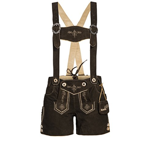 kurze Lederhose in braun von Marjo Trachten, Größe:36, Farbe:Braun