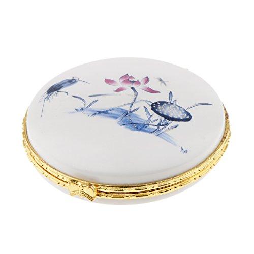 non-brand MagiDeal Porzellan Deckeldose Puderdose mit Floralem Dekor mit Chinesische Traditionelle Keramische Technologie - Blauer Lotus -