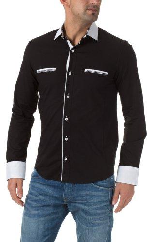 Carisma Herren Langarm Hemden Hemd Schwarz