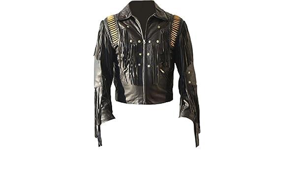 Classyak pour Homme Cowboy Cuir Veste à Franges Noir  Amazon.fr  Vêtements  et accessoires 65e678236b1e
